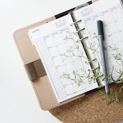 planner for girl with plant and cork