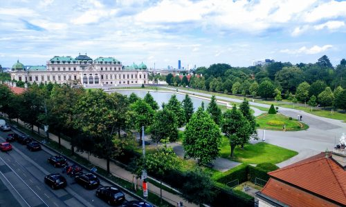 belvedere gardens Vienna from apartment