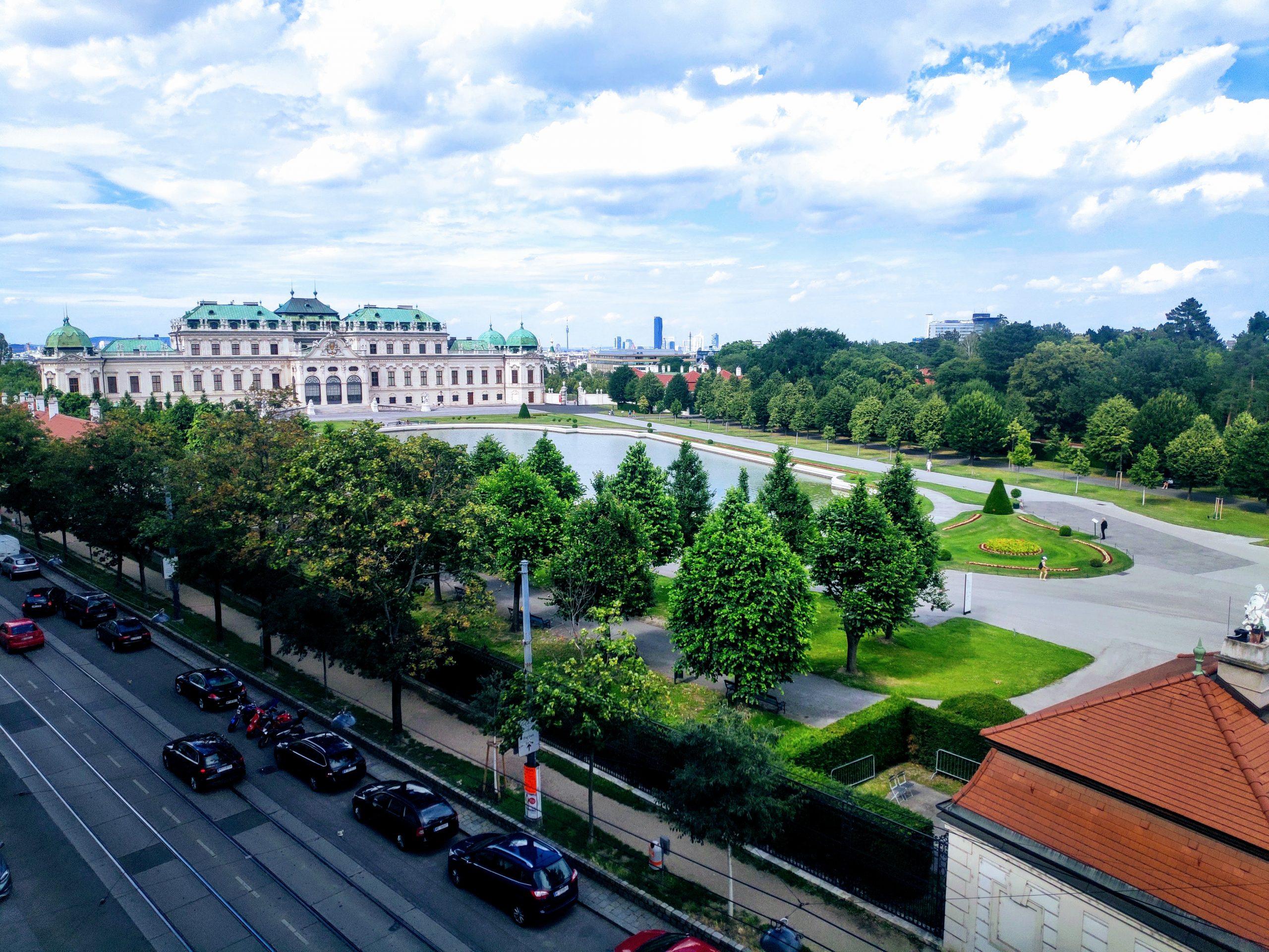 belvedere gardens Vienna from apartment
